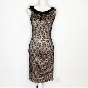 Voodoo Vixen Lace Overlay Beige Pencil Dress New